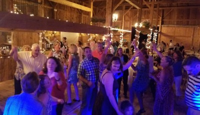 Matt and Lou's wedding reception at William Allen Farm in Pownal. Maine Wedding Band Every Other Sunday
